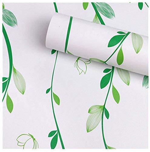 HOYOYO 43,2x 198,1cm weiß Selbstklebend Regal Liner, Feuchtigkeit Proof Kommode Schublade Papier Regal Schimmelfest Antifouling Kontakt Papier, grün Leaf - Schublade Papier Für Liner Kommode