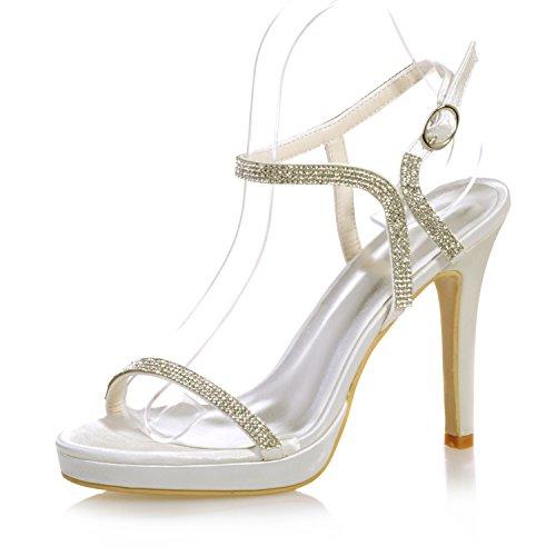 Chalmart Sandales Mariage Diamant Escarpins à Talon Haut Soirée Chaussure Aiguille Ivoire