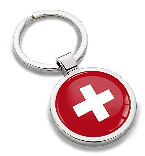 Biomar Labs® Schlüsselanhänger Metall Keyring Autoschlüssel Geschenk Metall-Schlüsselanhänger Schlüsselbund Edelstahl Flagge Switzerland Schweiz Swiss KK 192