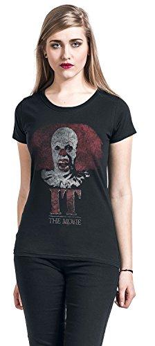 Es - Stephen King Pennywise Clown Logo Girl-Shirt Schwarz Schwarz