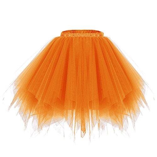 bridesmay Tutu Damenrock Tüllrock 50er Kurz Ballet Tanzkleid Unterkleid Cosplay Crinoline Petticoat für Rockabilly Kleid Orange S
