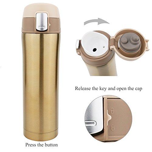 Edelstahl Reise Kaffee Tasse, starrich doppelwandige Vakuum Isolierte Tasse Wasser Flasche 100% Leck & Proof BPA-frei, Camping, Radfahren, Fitnessraum, 16oz, champagnerfarben / goldfarben -