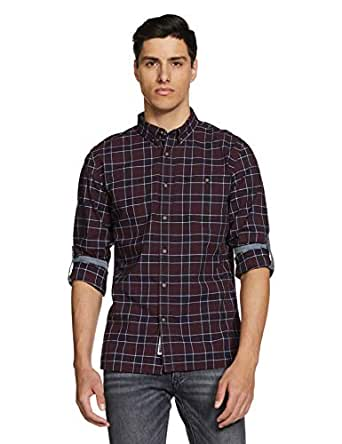 Amazon Brand - Inkast Denim Co. Men's Checkered Slim Fit Full Sleeve Cotton Casual Shirt (IN-S-38B_Maroon_X-Large)