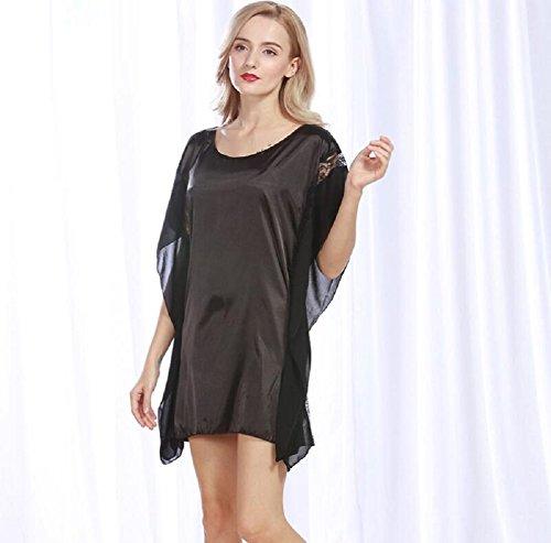 LJ&L Neue Nachahmung Seide Pyjamas Damen Sommer Qualität Schlaf Rock Rundhals Haus Service,pale pinkish gray,one size Black