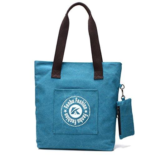 Segeltuch-Handtasche Der Frauen Beiläufige Tote Retro- Art- Und Weiseschulter-Beutel Großes Kapazitäts-Dame Tide Package Blue
