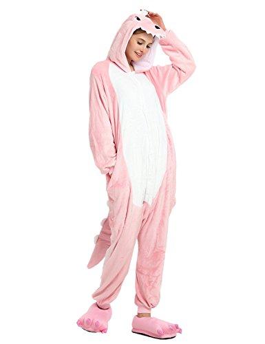 er Karton Fasching Halloween Kostüm Sleepsuit Cosplay Fleece-Overall Pyjama Schlafanzug Erwachsene Unisex (L, Pink) (Lustige Karton Halloween Kostüme)