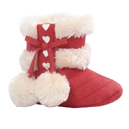 Kingko® Molle del bambino Sole Snow Boots morbida Presepe scarpe stivali bambino (0~6 mesi, Rosso)