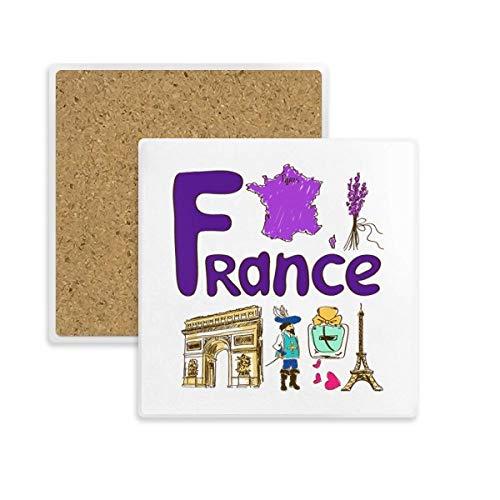 DIYthinker Frankreich Nationale Symbol Zeichen Muster-Quadrat-Coaster-Schalen-Becher-Halter Absorbent Stein für Getränke 2ST Geschenk Mehrfarbig