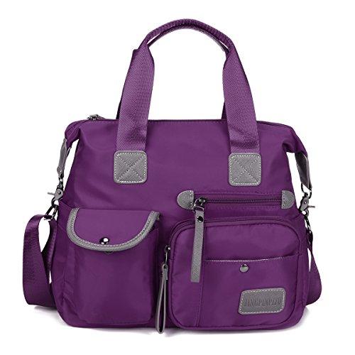 Designer Handtasche Nylon (Gracosy Damen Handtasche Nylon Schultertasche Wasserdichte Umhängetasche Mädchen Shopper Tasche Messenger Bag für Büro Reisen Arbeit Lila)