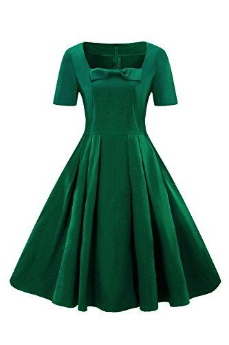 Misshow Kleid Festlich Knielang 50er Retro Kurzarm 1950er Cocktailkleid Rockabilly Swing Kleid
