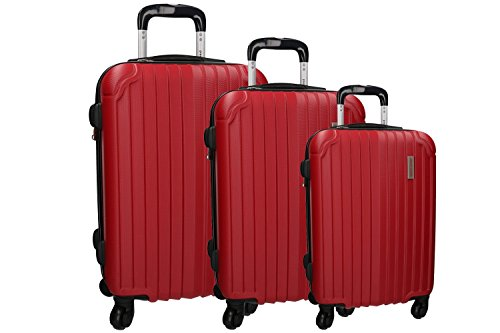 3 Maletas rígidas PIERRE CARDIN rojo 4 ruedas cabina para viajes VS213