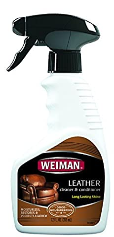 Weiman Leather Cleaner & Conditioner - Gentle Formula Cleans, Conditions and Restores Leather and Vinyl Surfaces - UV Protectants Help Prevent Cracking or Fading of Leather Sofas, Car Interiors, Shoes, Purses and More - 12 fl. oz. by Weiman