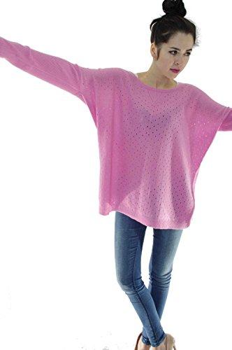 ZYPR Cashmere 100% Mongolei KASCHMIR Damen Pullover rosa Medium 01-1007 (Pullover Brown Cashmere)