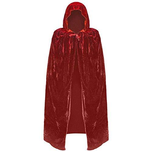 Wizard Red Kostüm Robe - GLXQIJ Unisex-Umhang Mit Kapuze Cape Robe Velvet Devil Witch Wizard Halloween Weihnachten Cosplay Kostüme Für Erwachsene,Red,M