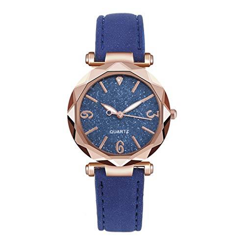 Fenverk 3470 Quartz Damen-Uhr mit Glitzerndem Strass-Steinen Zifferblatt Mesh-Armband,Damen Armbanduhr,damenuhr Rosegold(Blue#03)
