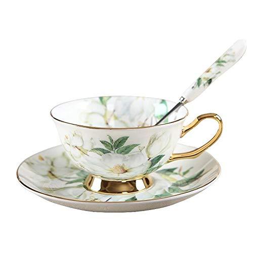 Teeset aus feinstem Porzellan mit Goldrand im alten Stil, bestehend aus Tasse, Untertasse und Löffel mit Geschenkverpackung; Tischkultur und Tischdekoration White Camellia White Rose Tasse