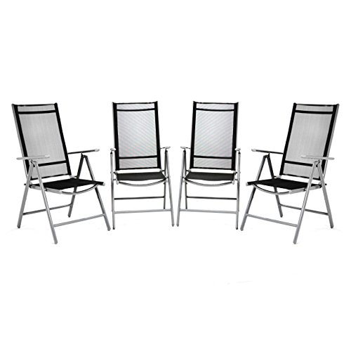 Nexos 4er Set Klappstuhl Komfortbreite Hochlehner Gartenstuhl Campingstuhl Liegestuhl - Sitzmöbel Garten Terrasse Balkon - Stuhl aus Aluminium - schwarz