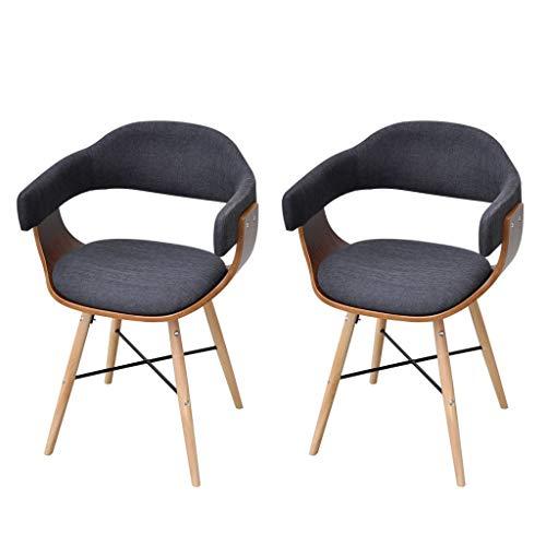 Festnight- Esszimmerstuhl 2er Set Küchenstühle Wohnzimmerstuhl Polsterstuhl Design Stuhl mit Armlehne Bugholz mit Stoffbezug 53 x 45 x 76 cm