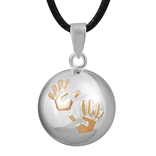Gold Glockenspiel (♥ Schwangerschaft Anhänger Jewel Bola Silber und Gold überzogene kleine Hände erleichtert.)