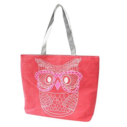 Canvas Schultertasche,Loveso Damen Handtasche Tasche mit Stern Canvas Tasche Umhängetasche Schultertasche canvas Henkeltaschen (Rot, 32cm*11cm*43cm)