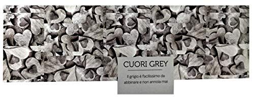 Menitashop tappeto da cucina antimacchia stampa digitale passatoia 100% italiano a metraggio (53x220, cuori grey)