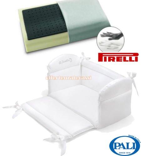 Riduttore Culla Pali Sweeties bianco per lettino + Pirelli PE11 cuscino memory