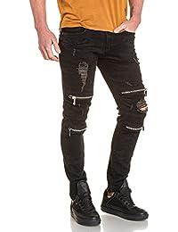 BLZ jeans - Jean noir camouflage déchiré et zips