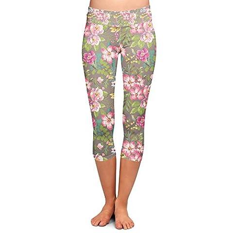 Tropical Vintage Florals Yoga Leggings - Capri 3/4 Length, Low Waist