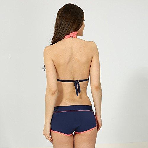 Shangrui Damen Bademode Series Splicing Farbe Schlinge Bikini(FZEH16034) Orange-Rot