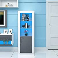 PananaHome Modern Tall Display Cabinet Cupboard High Gloss Fronts Storage Cupboard with Blue LED Lights Living Room Grey and White