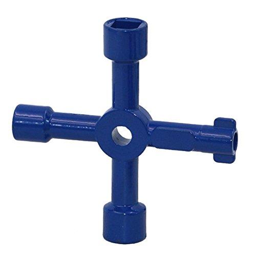 Politice 4-Wege-Utility-Schlüssel , Multifunktions-Utility-Schlüssel für Elektroschrank-Öffnungsschlüssel Blau -