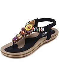 Bohemia Etnicas Planas Sandalias Retro Elegantes Con Cuentas Dedo del Pie Del Clip Zapatos Verano Boho Chic Zapatillas Mujer