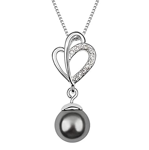 FLORAY Ladies Transparent Crystals and Dark Grey Shell Pearl Pendant Necklace. Free Blue Jewelry