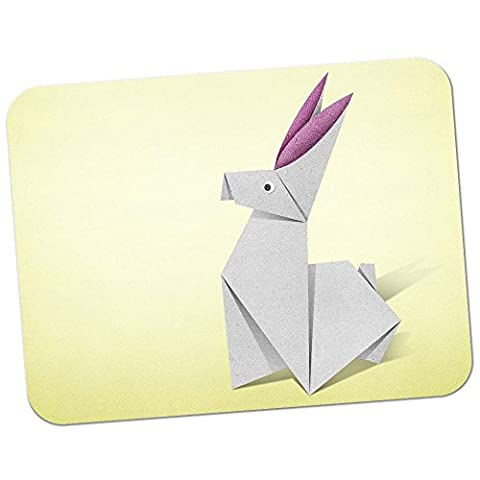 Origami Rabbit Bunny With Pink Ears Premium Quality Thick Rubber Mouse Mat Pad Soft Comfort Feel Finish