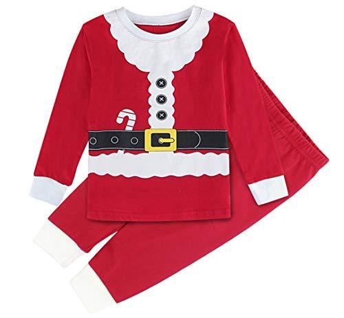 Mombebe Pigiama Babbo Natale Bambino Inverno Abbigliamento Set (Babbo Natale, 2 Anni)