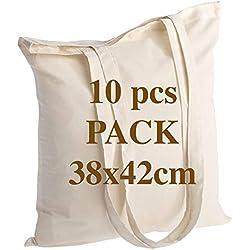 Sac en coton de qualité 10 pièces 145 grammes taille 38x42 cm poignées longues 70 cm nature 100% coton. Le modèle le plus populaire