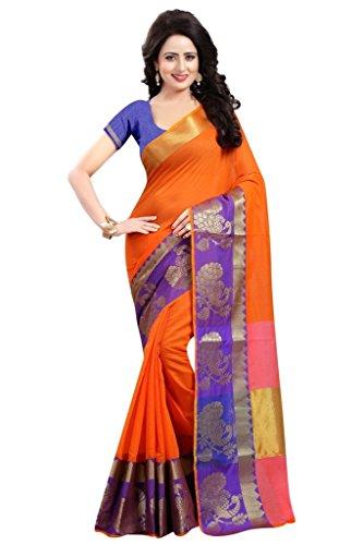 Banarasi Saree (Nirja Creation orange Color Cotton_silk Banarasi Saree )
