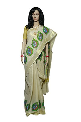 Kerala Traditional Kasavu Tissue Saree with Baby Krishna Leaf design on border
