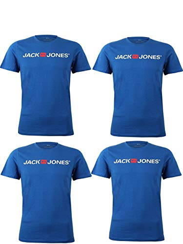 Logo Jack (JACK & JONES Herren Logo T-Shirt Kurzarm Rundhals JJEPROLOG Tee Crew O-Neck im 4er Pack aus 100% Baumwolle, Größe:L, Farbe:4X Classic Blue)