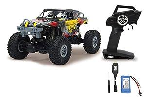 Jamara 410113-J-Rock Crawler 4WD 1:10 Li-Ion 2,4GHz-Funcionamiento multijugador, 2 Motores, Neumáticos de Goma, Tracción a Las Cuatro Ruedas, Color Negro, Rojo (410113)