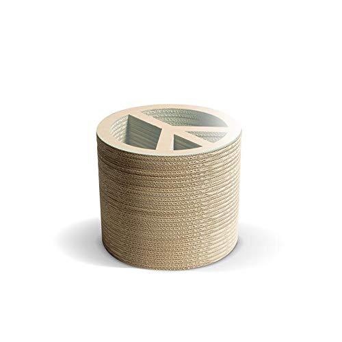 decopoint DesignTisch Peace aus Karton mit Glasplatte, H40cm, Ø60cm - voll belastbar