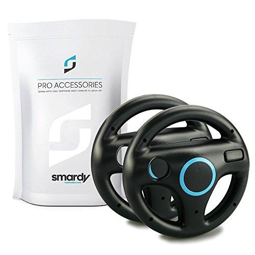 SMARDY 2X Racing Lenkrad Steering Wheel schwarz für Nintendo Wii und Wii U Remote