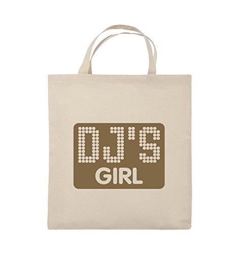 Comedy Bags - DJ'S GIRL - NEGATIV PUNKTE - Jutebeutel - kurze Henkel - 38x42cm - Farbe: Schwarz / Pink Natural / Hellbraun