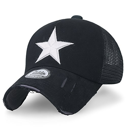 caccad501b1 ililily Star Embroidery Black White Trucker Hat Cotton Baseball Cap (XL