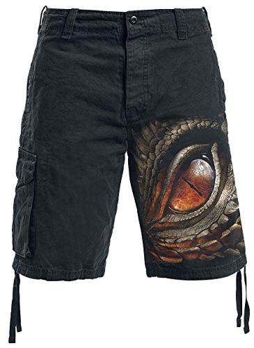 Spiral Dragon Eye Pantalones cortos Vintage Negro S