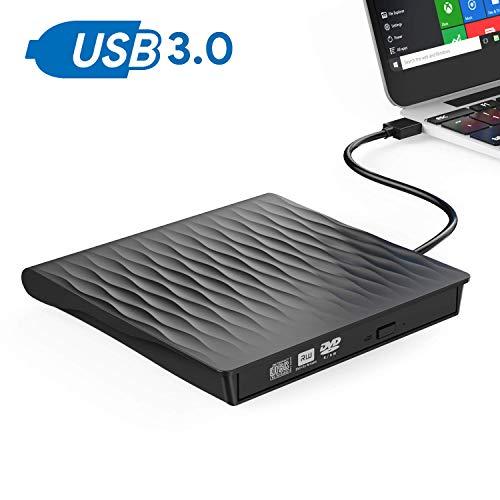 Lecteur CD/DVD Externe,OUDEKAY USB 3.0 Graveur DVD Externe CD Enregistreur Portable RW/ROM Mince ROM Transmission Rapide Câble USB Intégrée Windows/Win10/8/7/Vista/Laptop/Desktops/PC (Nori)