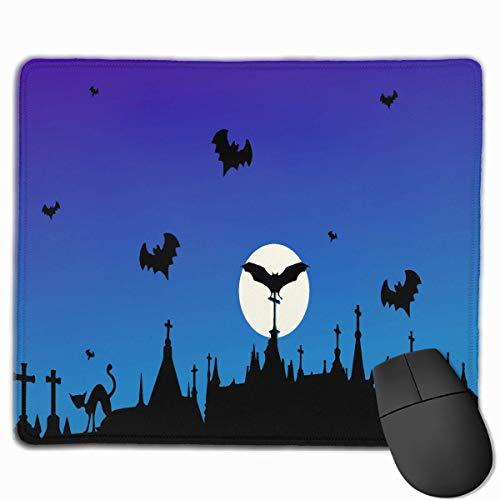 (Halloween Moon Night Cat Bat Qualität Komfortable Game Base Mauspad mit genähten Kanten Größe 11,81 * 9,84 Zoll)