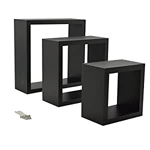 schwarz quadrat schwebendes regal 3 verschiedene gr en 3er set k che haushalt. Black Bedroom Furniture Sets. Home Design Ideas