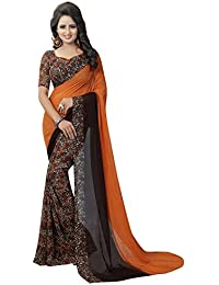 Clothsfab Women's Chiffon Saree With Blouse Piece (Ddj-Chiffon Sari)