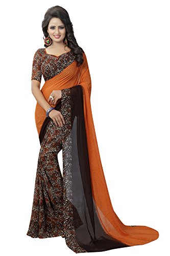 J B Fashion Georgette Saree With Blouse Piece(H-Saree For Women-Trump-Orange_Orange Free Size)